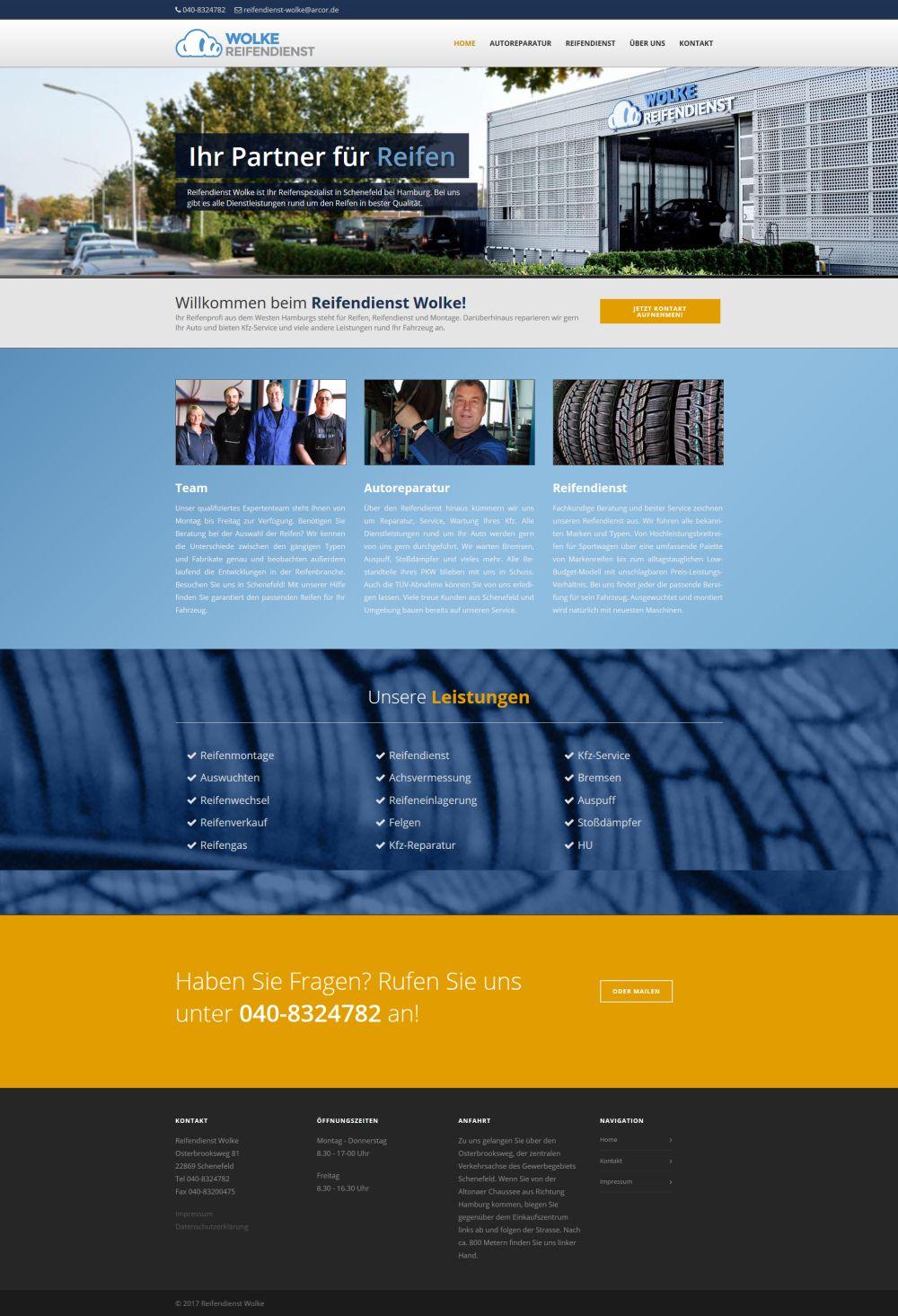 Website Designen Len | 100 Looks Webdesign Reifendienst Wolke